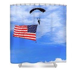 Shower Curtain featuring the photograph Socom Flag Jump by Doug Camara