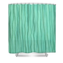 Soft Green Lines Shower Curtain