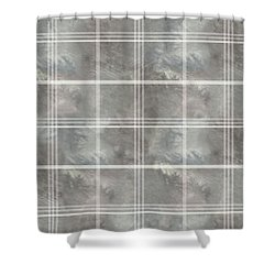 Soft Textured Cream And Blue Plaid Shower Curtain