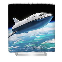 Shower Curtain featuring the digital art Spacex Bfr Big Falcon Rocket With Earth by Pic by SpaceX Edit by M Hauser