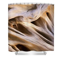 Shower Curtain featuring the mixed media Spare Root 3 by Lynda Lehmann