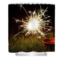 Shower Curtain featuring the photograph Sparkler In A Plant Pot by Scott Lyons