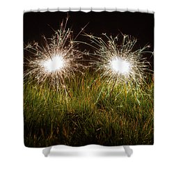 Shower Curtain featuring the photograph Sparklers In The Grass by Scott Lyons