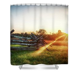 Split-rail Sunset Shower Curtain
