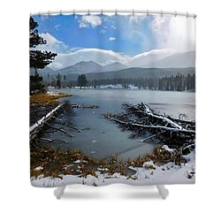 Shower Curtain featuring the photograph Sprague Lake by Dan Miller