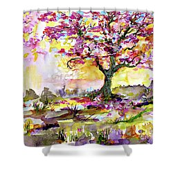 Spring Blossom Tree Warm Watercolor Shower Curtain