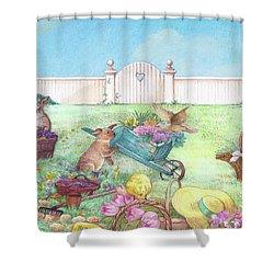 Spring Bunnies, Chick, Birds Shower Curtain