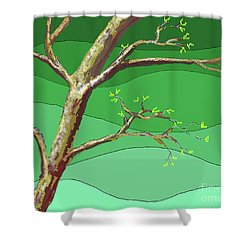 Spring Errupts In Green Shower Curtain