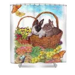 Spring Garden With Bunnies, Butterfly Shower Curtain