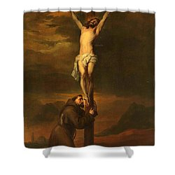 St Francis At The Foot Of The Cross Shower Curtain