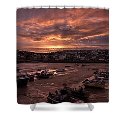 St Ives Cornwall - Harbour Sunset Shower Curtain
