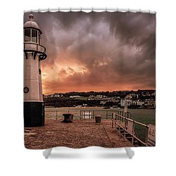 St Ives Cornwall - Lighthouse Sunset Shower Curtain