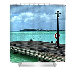 Shower Curtain featuring the photograph St. Maarten Pier In Aqua Caribbean Waters by Bill Swartwout Fine Art Photography