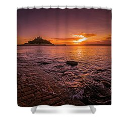 St Michael's Mount - January Sunset Shower Curtain