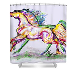 Crayon Bright Horses Shower Curtain