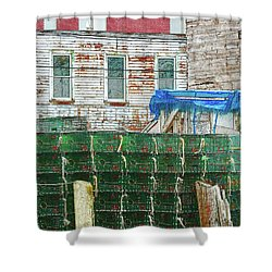 Stacked Lobster Traps Shower Curtain