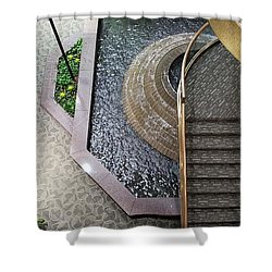 Stairs And Fountain  Shower Curtain