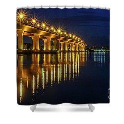 Starburst Bridge Reflection Shower Curtain