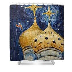 Shower Curtain featuring the painting Stars Near And Far by Maria Langgle