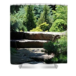 Stone Stairs In Chicago Botanical Gardens Shower Curtain