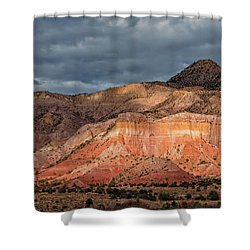 Storm Above Ghost Ranch Mountains Shower Curtain