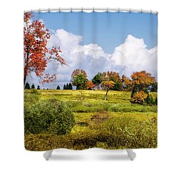Shower Curtain featuring the photograph Storm Clouds Over Country Landscape by Christina Rollo