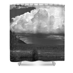 Storm Coming In Black And White Shower Curtain