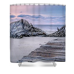 Storm Fence Sunrise Shower Curtain