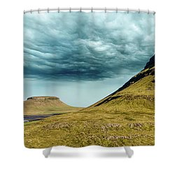 Stormy Church Mountain Shower Curtain