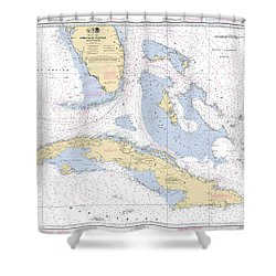 Straits Of Florida Nautical Chart 11013 Shower Curtain