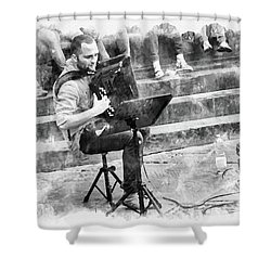 Street Musician In Florence Shower Curtain