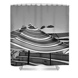 Striped Umbrellas In Black And White Shower Curtain
