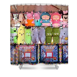 Stuffed Animals And Cartoon Characters Shower Curtain