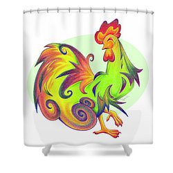 Stylized Rooster I Shower Curtain