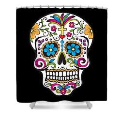 Sugar Skull Day Of The Dead Shower Curtain