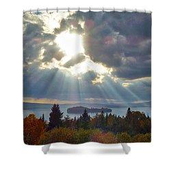 Sun Rays Over Rangeley Lake Shower Curtain