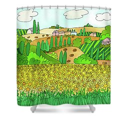 Sunflower French Countryside Shower Curtain