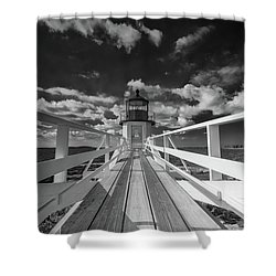 Shower Curtain featuring the photograph Sunny Skies At Marshall Point In Black And White by Rick Berk