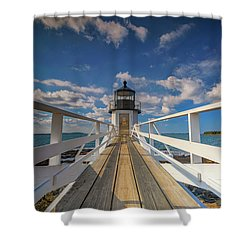 Shower Curtain featuring the photograph Sunny Skies At Marshall Point by Rick Berk