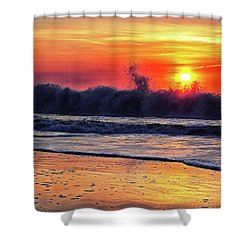 Shower Curtain featuring the photograph Sunrise At 142nd Street Beach Ocean City by Bill Swartwout Fine Art Photography