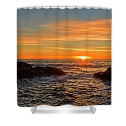 Sunrise By The Mediterranean Sea In Oropesa, Castellon Shower Curtain