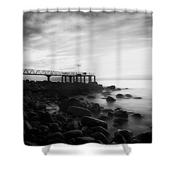 Sunrise In Black And White Shower Curtain