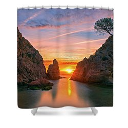 Sunrise In The Village Of Tossa De Mar, Costa Brava Shower Curtain