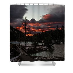 Sunrise Over Cascade Ponds, Banff National Park, Alberta, Canada Shower Curtain