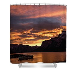 Sunrise Over Lake Minnewanka, Banff National Park, Alberta, Cana Shower Curtain