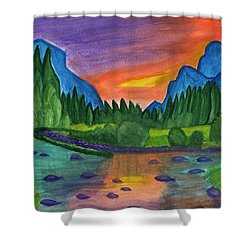 Sunset By The River Shower Curtain