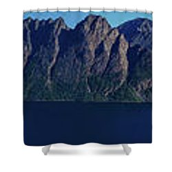 Sunset In Norway In Lofoten Island Shower Curtain