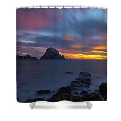 Sunset In The Mediterranean Sea With The Island Of Es Vedra Shower Curtain