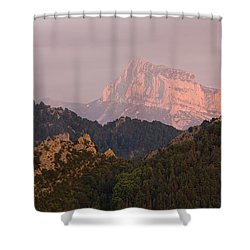 Shower Curtain featuring the photograph Sunset On Pena Montanesa by Stephen Taylor