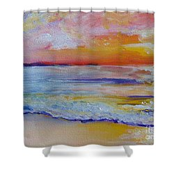 Shower Curtain featuring the painting Sunset On The Gulf by Saundra Johnson